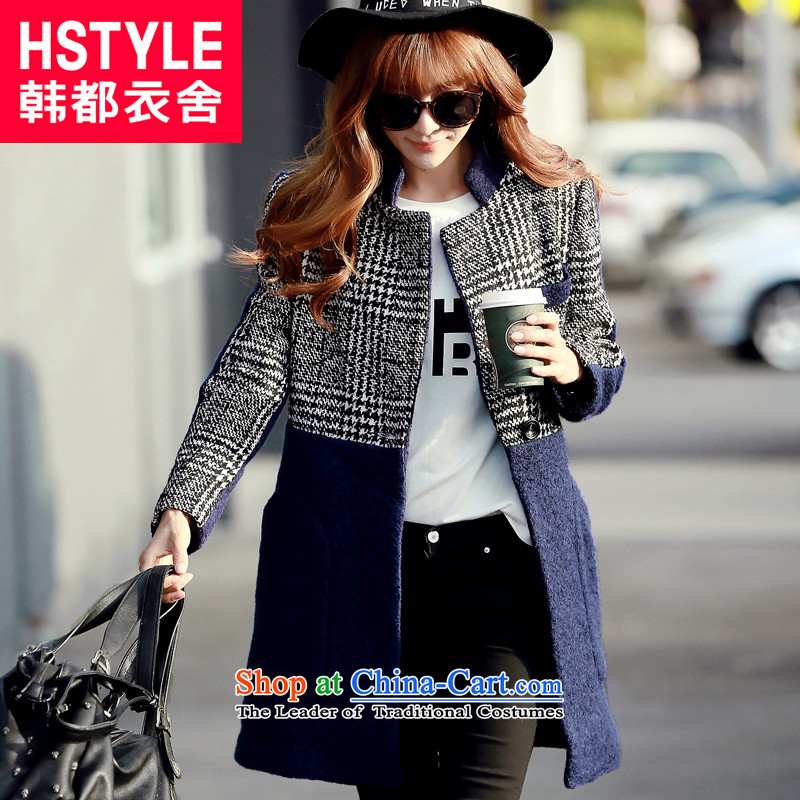 Korea has the Korean version of the Dag Hammarskj鰈d yi 2015 winter clothing new products with han bum stylish Sau San video thin stitching long-sleeved jacket NH5288 gross? Blue restaurant燬
