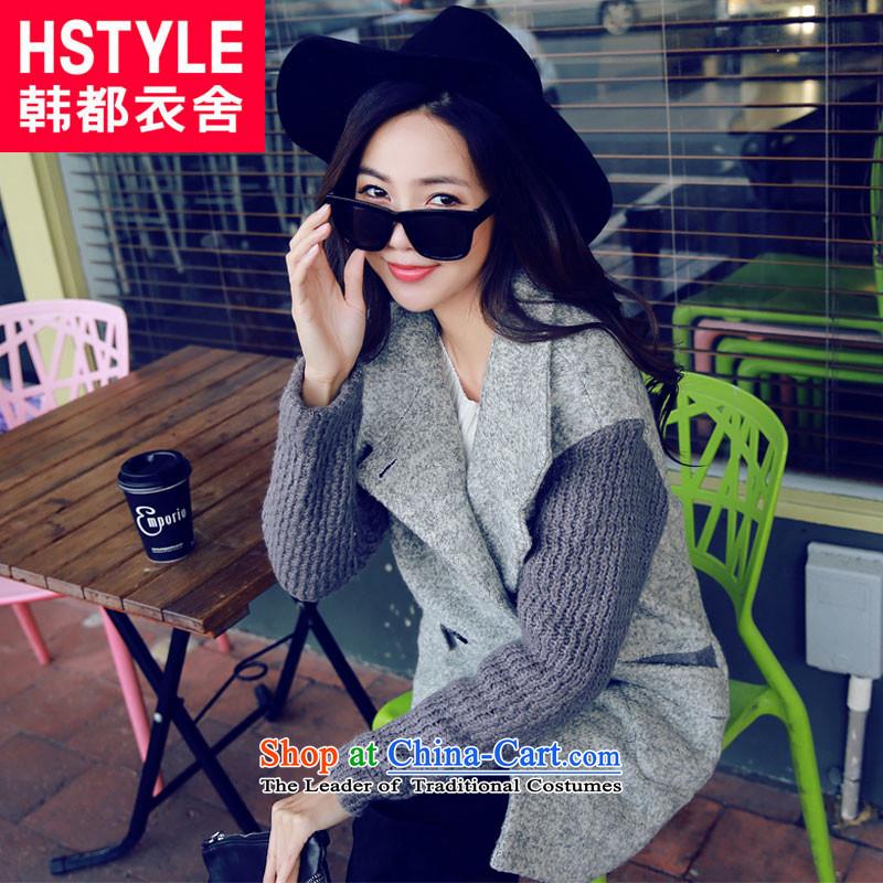 Korea has the Korean version of the Dag Hammarskj鰈d yi 2015 Autumn new for women stylish loose stitching GY4456 gross? coatscyanocobalamin爂ray燤