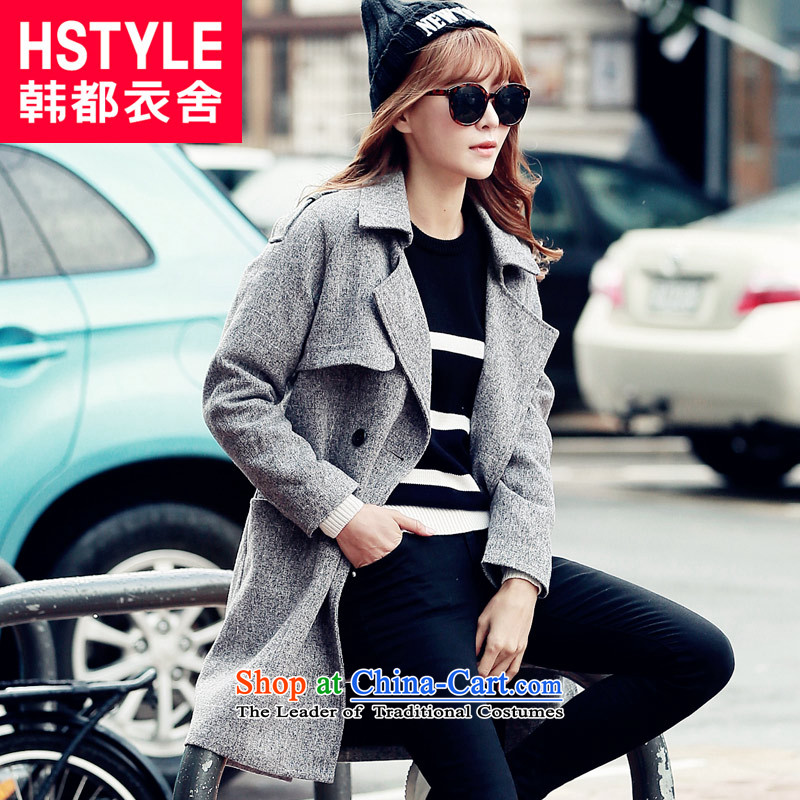 Korea has the Korean version of the Dag Hammarskjöld yi 2015 winter clothing in new women's long hair? jacket NG4873 Sau Sanjp gray M