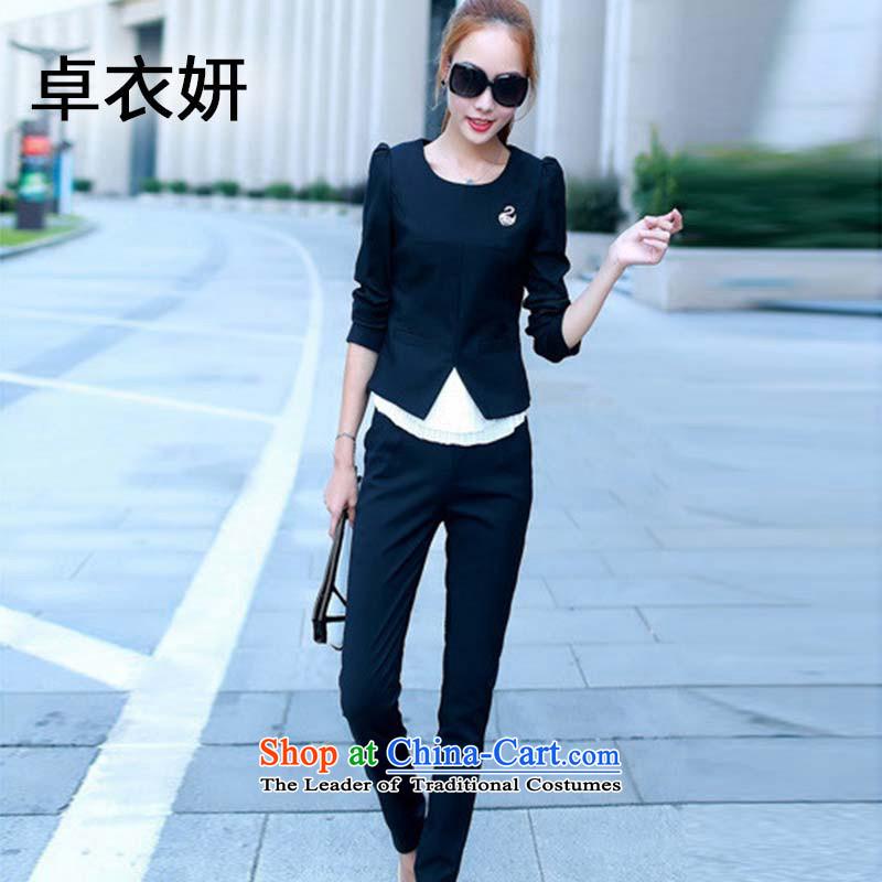 Women's clothes autumn 1361# Kit 2015 new stylish temperament kit, two kits of Sau San professional leisure wears blackXL