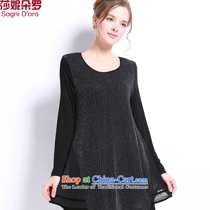 Shani flower, 2015 New_ won the autumn version of large numbers of ladies thick mm chiffon stitching Sau San long-sleeved T-shirt with round collar 106 Black 5XL- fall inside the new