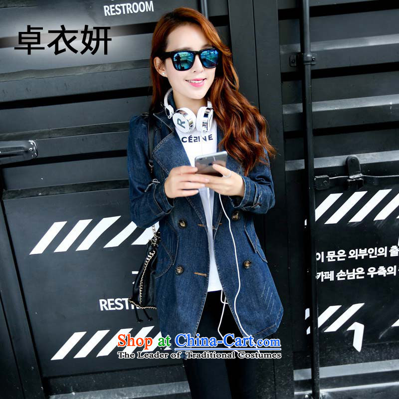Load New 1363#2015 Autumn Korean Sau San video thin Sleek and versatile in long-sleeved shirt, long jacket female cowboy cowboy color L