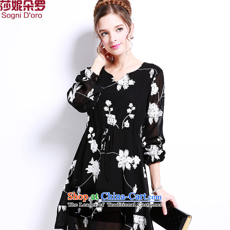 Thick sister to 2015 plus the snow, woven skirts large Western women 200 catties thick mm Mount autumn dresses 9,107 Black4XL