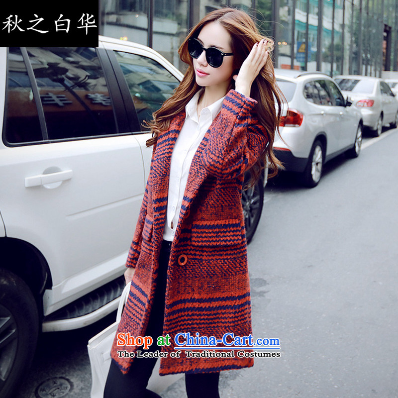 The fall of the Chinese version of the 2015 Korean white winter new suit for gross? coats female Grid Snap in single row long jacket MN8305 gross red, it s   difficult for 90-105