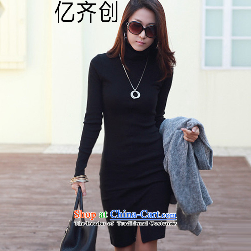 Create the  2015 autumn billion new Korean version of large numbers of ladies OL Drop-Needle LS and skirts, forming the basis of Sau San package female high collar G8102 black XXL