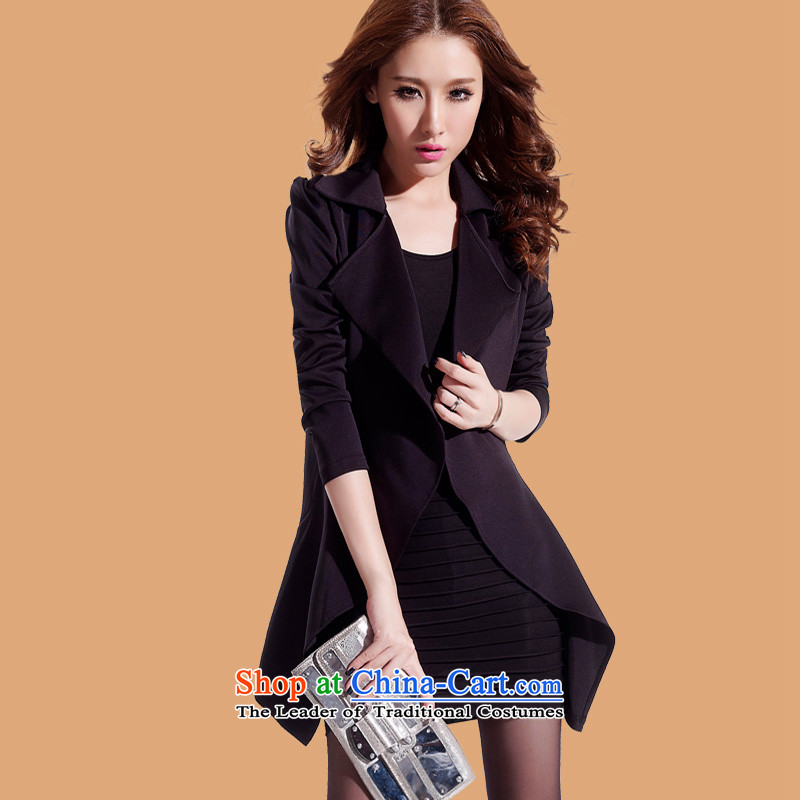 Create the  2015 autumn billion new Korean version of large numbers of ladies to intensify the two piece collars in long-sleeved long waist dresses BR6336 XXXL black