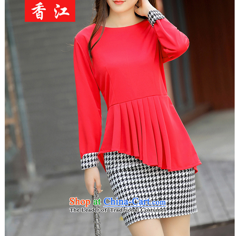 Xiang Jiang autumn 200mm thick catty to xl female graphics thin chidori long-sleeved shirt, forming the thick sister dresses two kits female 002 big red code 4XL