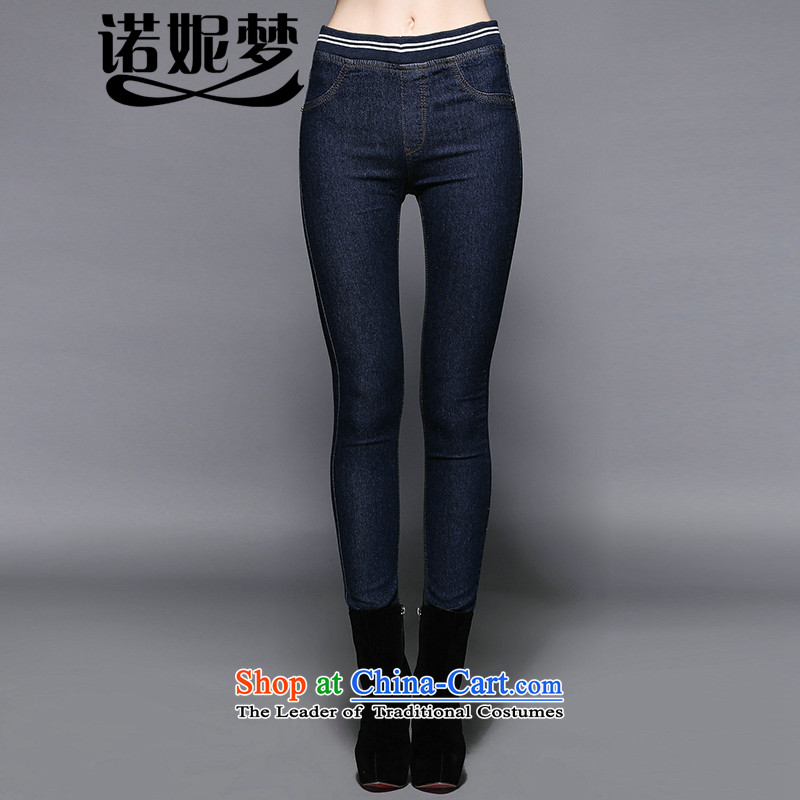 The Ni dream new_ Autumn 2015, Europe and the large number of ladies thick simple mm female castor y3457 Sau San jeans dark blue XXXL