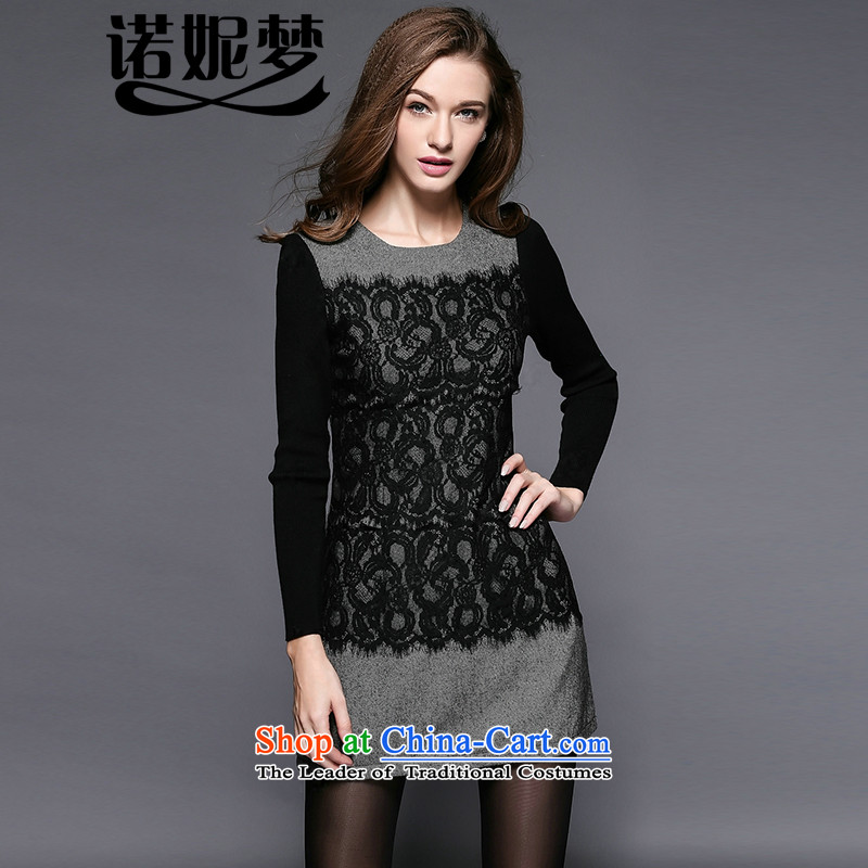 The Ni dream new_ Autumn 2015, Europe and the large number of ladies thick mm temperament stitching lace dresses y3439 long-sleeved black?XXXXL