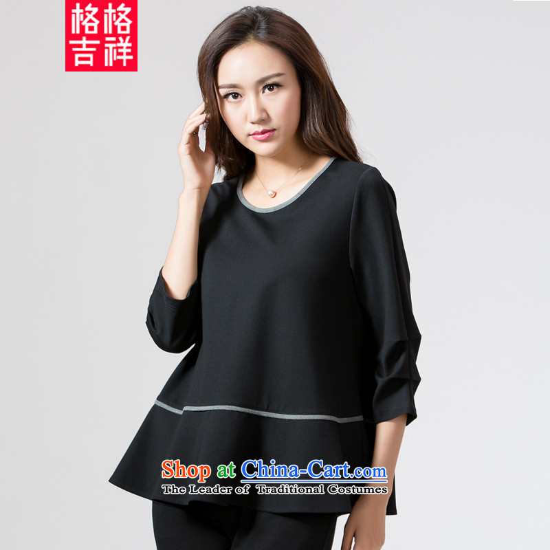 The interpolator auspicious燦ew_ Autumn 2015 large female thick mm video thin 7 loose T-shirt-sleeves blouse K5691 Ms. black�L