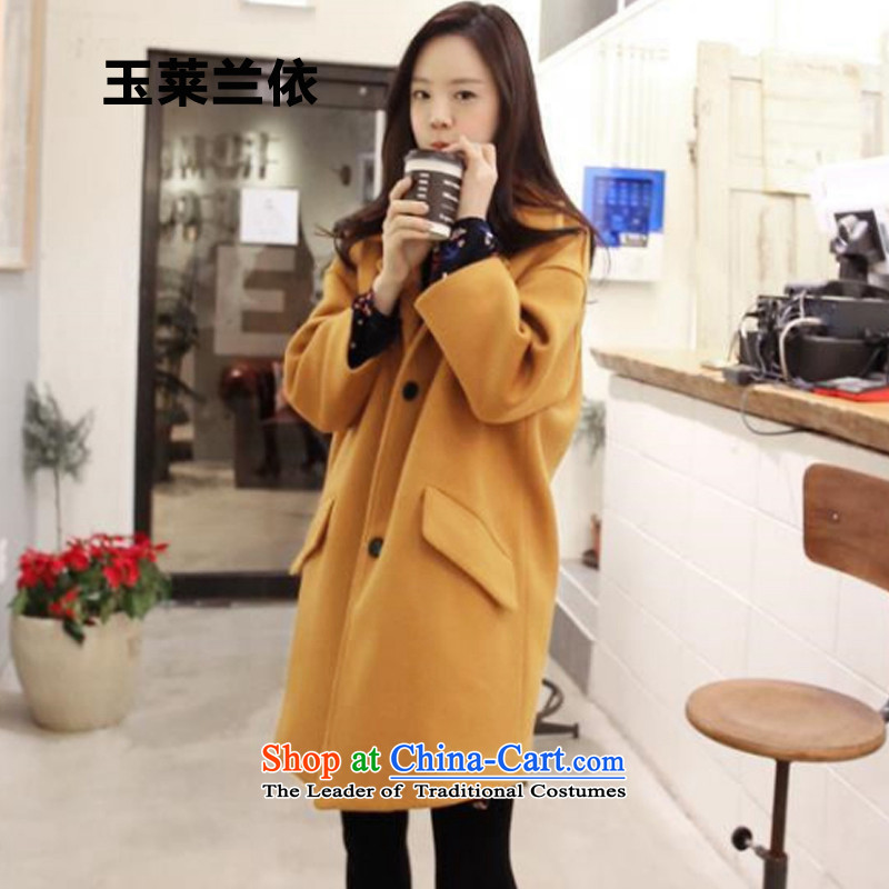 In accordance with the 2015-yuk leyland autumn and winter new Korean double-jacket in gross? Long a wool coat female YL1501 turmeric yellow A XL plus cotton waffle