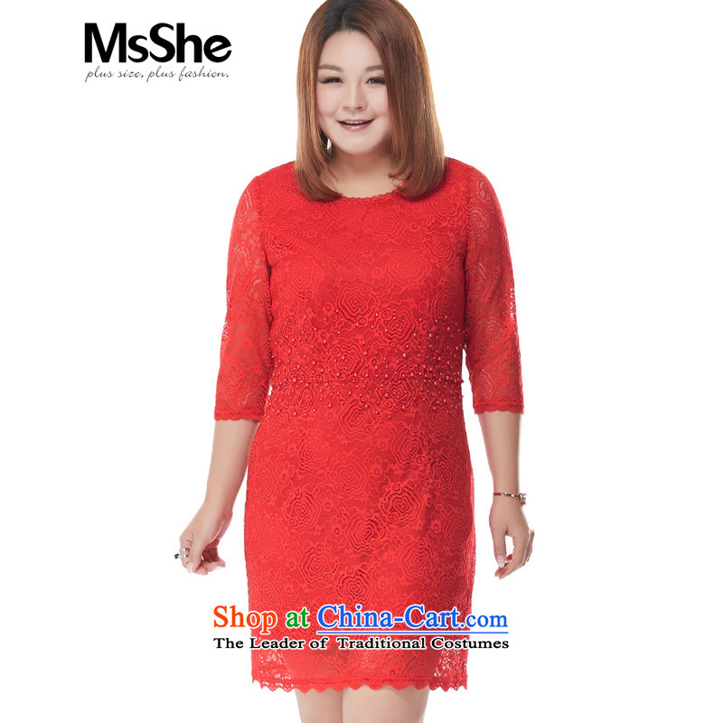 Msshe xl women 2015 new autumn Red round-neck collar 7 cuff lace dresses large red�L 2806