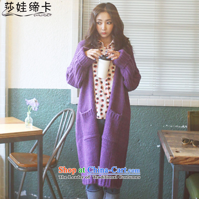 Elisabeth wa concluded large card women 200 catties jacket female large knitwear cardigan medium to long term, thick girls' Graphics thin, Choo replacing thick sister Ms. New Thick purple large number are Tien Code 100 to 200 catties can wear