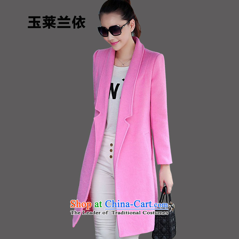 In accordance with the 2015-yuk leyland autumn and winter new gross?   in the Korean version of the jacket long a wool coat female YL526 pinkXL plus lint-free thick