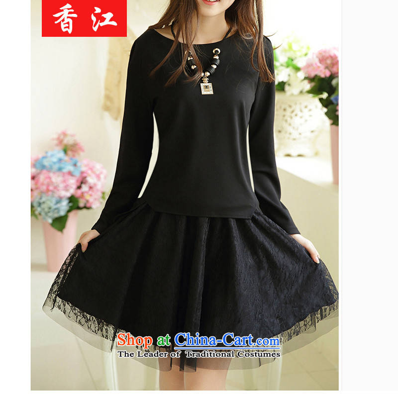 Xiang Jiang autumn 200mm thick catty to xl female graphics thin ice woven dresses two kits thick sister short skirts thick children with 001 Black Large Code 4XL