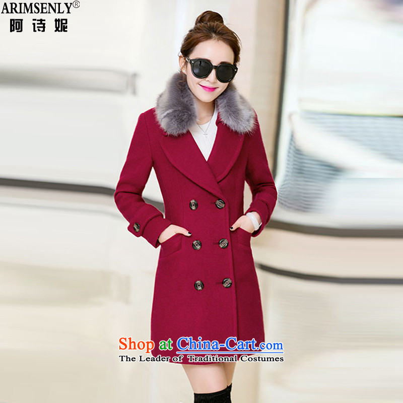 Tianqi Connie 2015 autumn and winter new Korean Nagymaros collar Sau San? Women's blouses coats gross in large long thick coat female red wine? 99 L