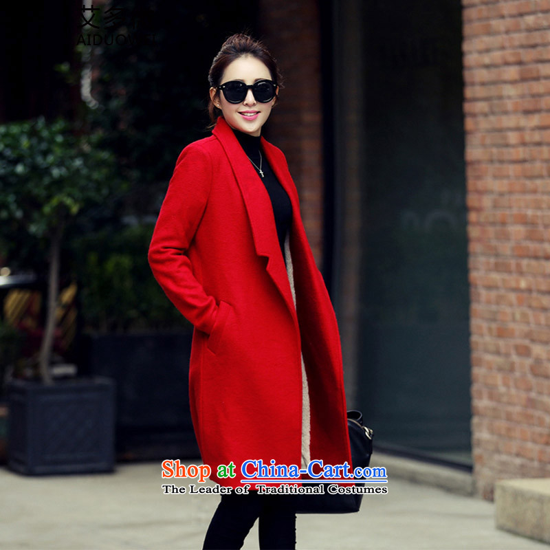 More Micro�15 Winter HIV new Korean cashmere long pure colors in long-sleeved gross? The jacket coat it lint-free slimming female red plus lint-free燣