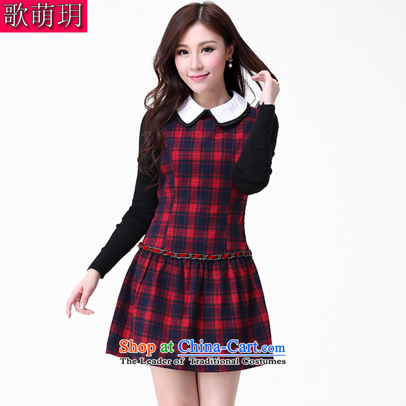 Song Of Yue xl autumn and winter 2015 new mm thick Korean style leisure. Long Classic Grid Sau San video thin dress Q3048 4XL(165-180 red coal)