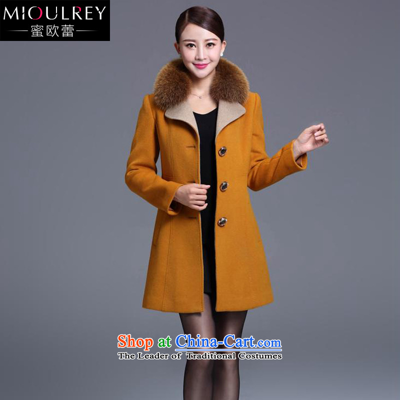 Alfa Romeo Lei Han version 2015 winter coats new cashmere overcoat and stylish in cultivating the girl long fox washable wool coat is gross 9015 Yellow聽L