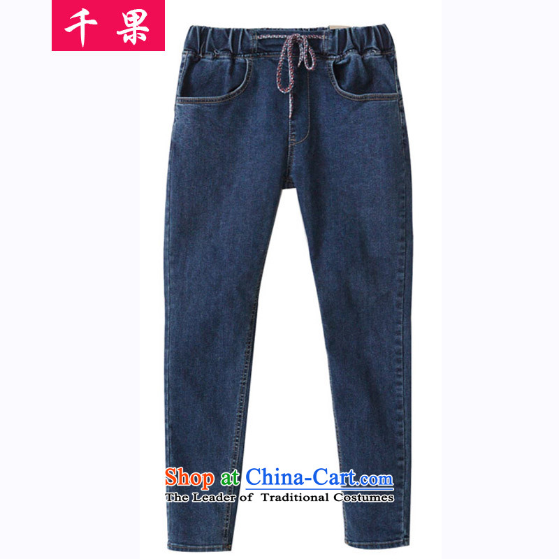 The results of the to-XL elastic waist jeans women thick mm loose video thin Harun trousers castor trousers�0 catty long short trousers model 6128 dark blue燲XL130-165 around 922.747