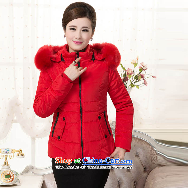 The sea route take the Korean version of a loose version pure color, thick large short winter coat 4144-1 Code Red�L