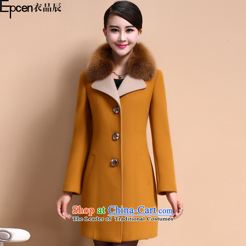 Yi Jin _epcen No.聽2015_ new products in the winter long coats gross GT8009 yellow jacket?聽 L