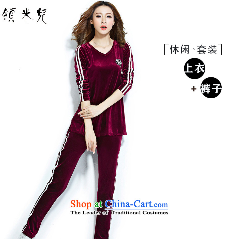 For M-爈oad new autumn 2015 XL female thick mm video thin package Ms. Velvet Lounge two kits long-sleeved T-shirt + pants�L agreed by the wine red
