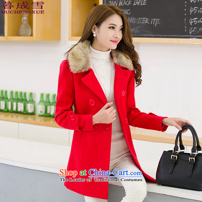 The 2015 autumn and winter snow into new for women Korean jacket new products a large video thin hair so Sau San coats and Stylish coat female red燣?
