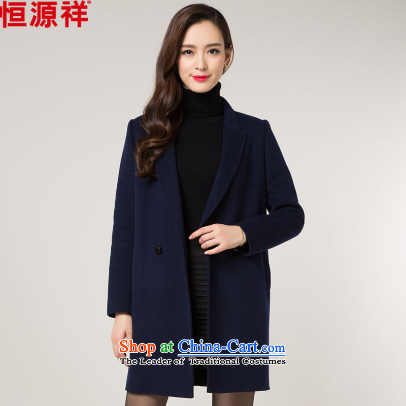 Hengyuan Cheung double-side Ms. coats wool 2015 autumn and winter new full-length in the manual of the amount? sweater navy blue?XL