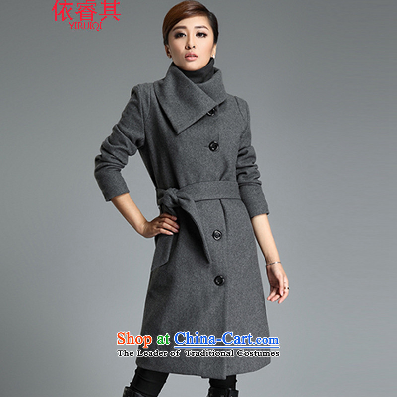 In accordance with the core of its 2015 autumn and winter new Korean version in long hair Sau San? graphics thin large jacket a wool coat hot gray M