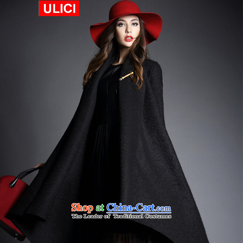 The new European winter ULICI site? coats female Western gross? a wool coat female jacket coat female pure color black are code
