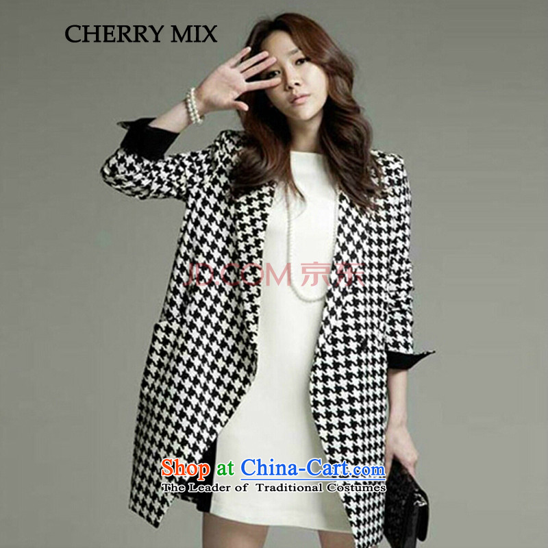 Cherrymix autumn and winter han bum new products Sau San aristocratic chidori grid in large long thick hair? 41018 Female picture color coats聽M