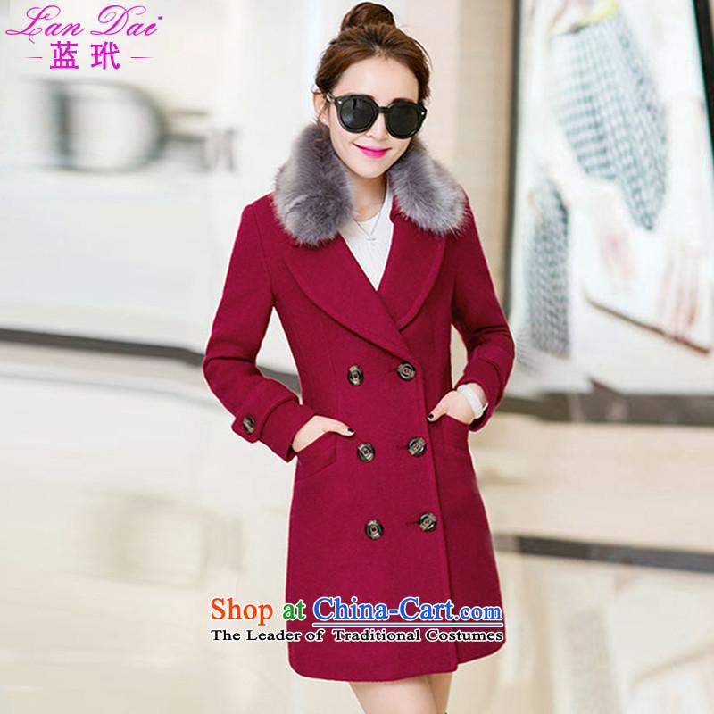 Blue Zebina 2015 autumn and winter new Korean gross? coats that long hair? jacket women Sau San 1689 wine redL