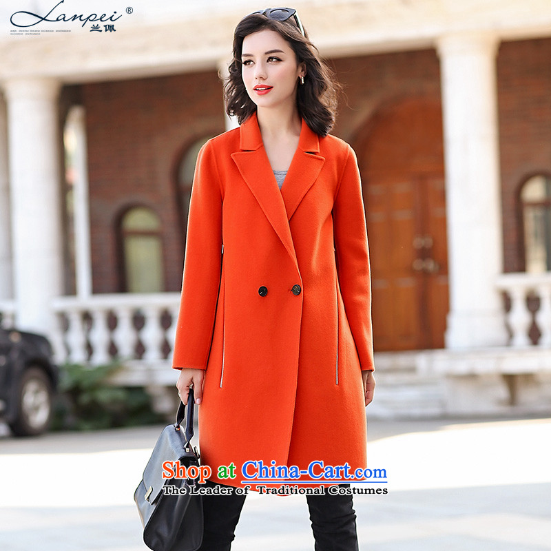 Estimated 2015 Autumn Load New Pei, woolen coat girl in long hair? jacket double-side woolen coat orange燣
