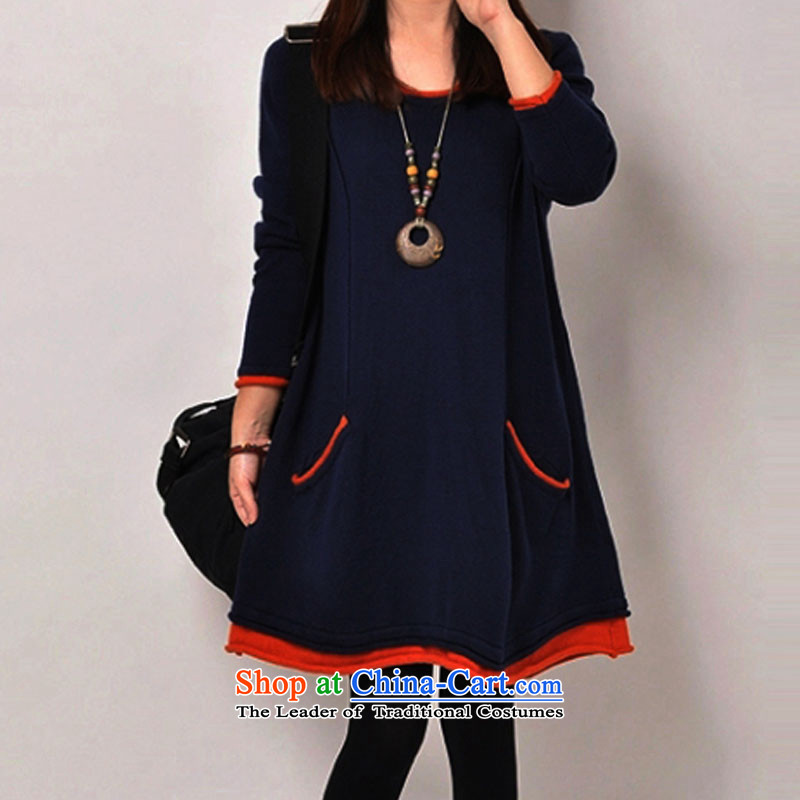 In accordance with the snow covered by the 2015 autumn and winter new Korean loose to increase women's code thick cotton lint plus mm thick warm sweater girls forming the graphics thin long skirt�L Dark Blue