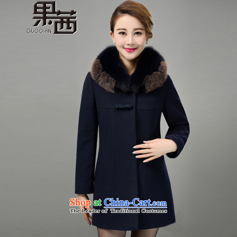 Mrs Ure 2015 Winter Fruit new moms with large middle-aged emulation Fox for gross long cashmere overcoat jacket coat women gross Sau San?�25 navy blue燣