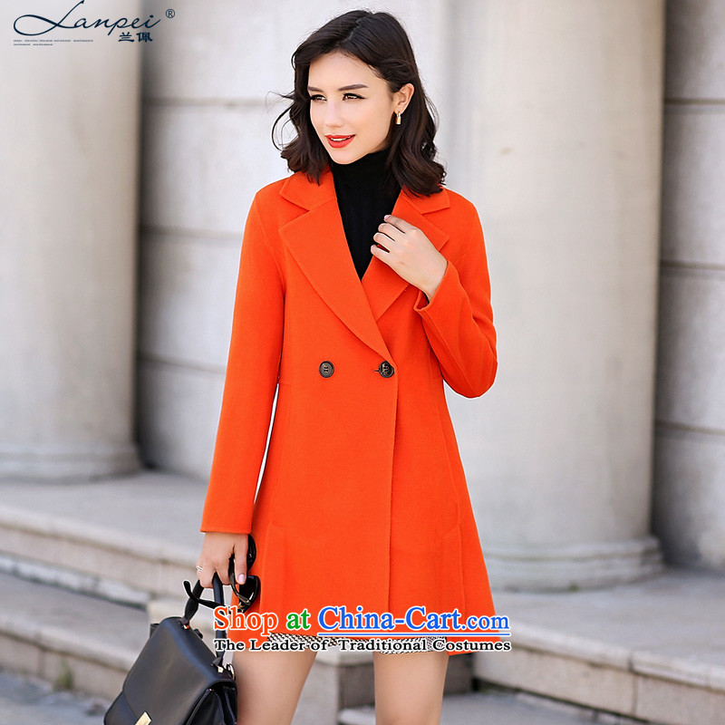 In the autumn of 2015, the new Pei Sau San video thin-sided flannel woolen coat girl in long-gross? jacket cocoon female orange燤