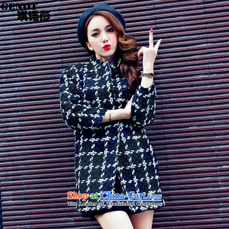 The Tong Mao so qi overcoat new women's 2015 autumn and winter a Korean version of the Sau San. long thin coat in the video frame long thick black plus cotton燤 9608