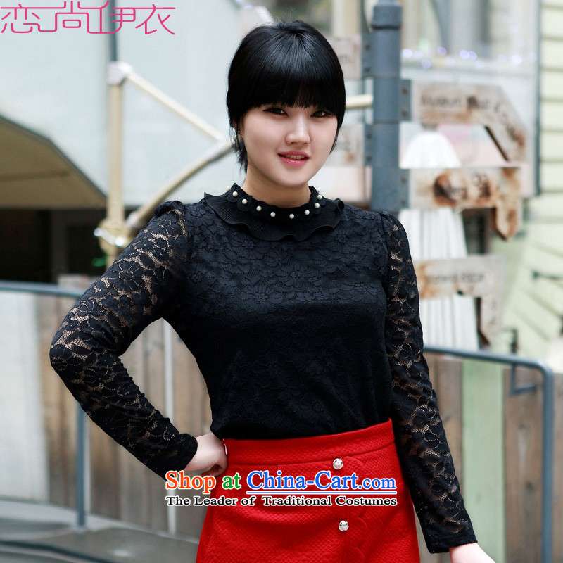 Payment on delivery to xl lace shirt Package Mail 2015 new long-sleeved shirt collar pearl black OL temperament, forming the T-shirt thin shirt Graphics Black聽3XL聽approximately 155-170 catty