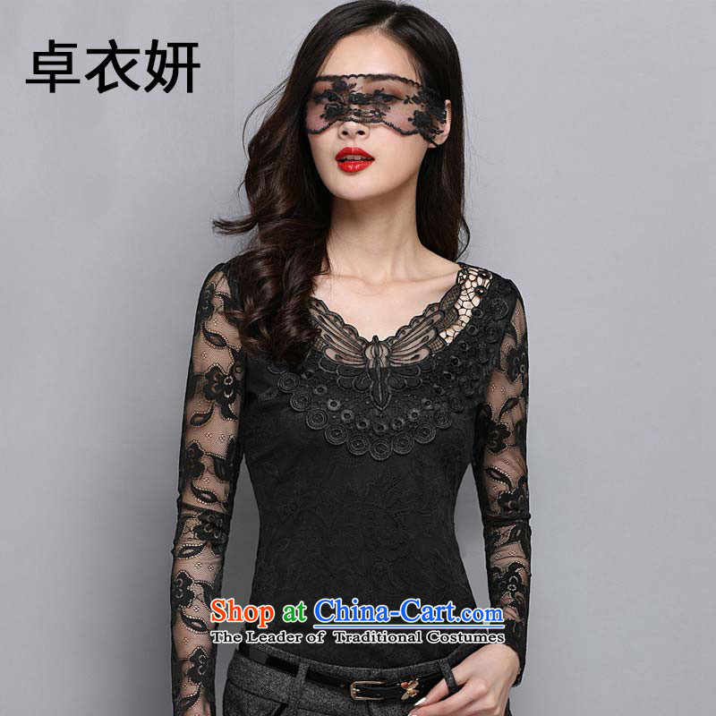 The new maximum code 1378#2015 female Lace up Korean version of V-neck in Sau San gauze long-sleeved shirt engraving forming the black L