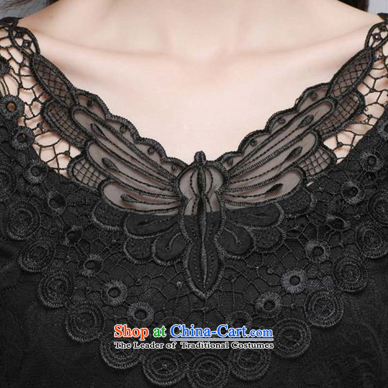The new maximum code 1378#2015 female Lace up Korean version of V-neck in Sau San gauze long-sleeved shirt engraving forming the black , L, Zhou Yi Yan Shopping on the Internet has been pressed.