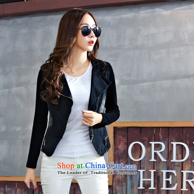 To increase the number of women with thick mm Mount Korean autumn 2015 new cowboy jacket female short jacket coat long-sleeved jacket coat Stretch video thin black燲XXXL Sau San
