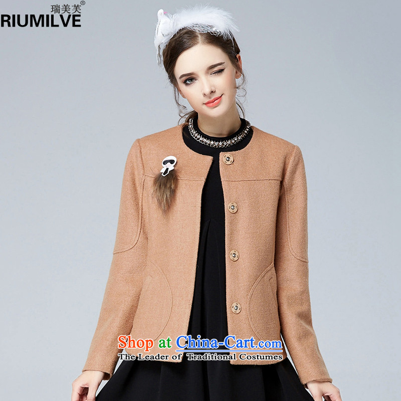 Rui Mei to2015 autumn and winter new to increase women's code, Hin fat mm thick thin cardigan wool coat short) N1376? And color3XL