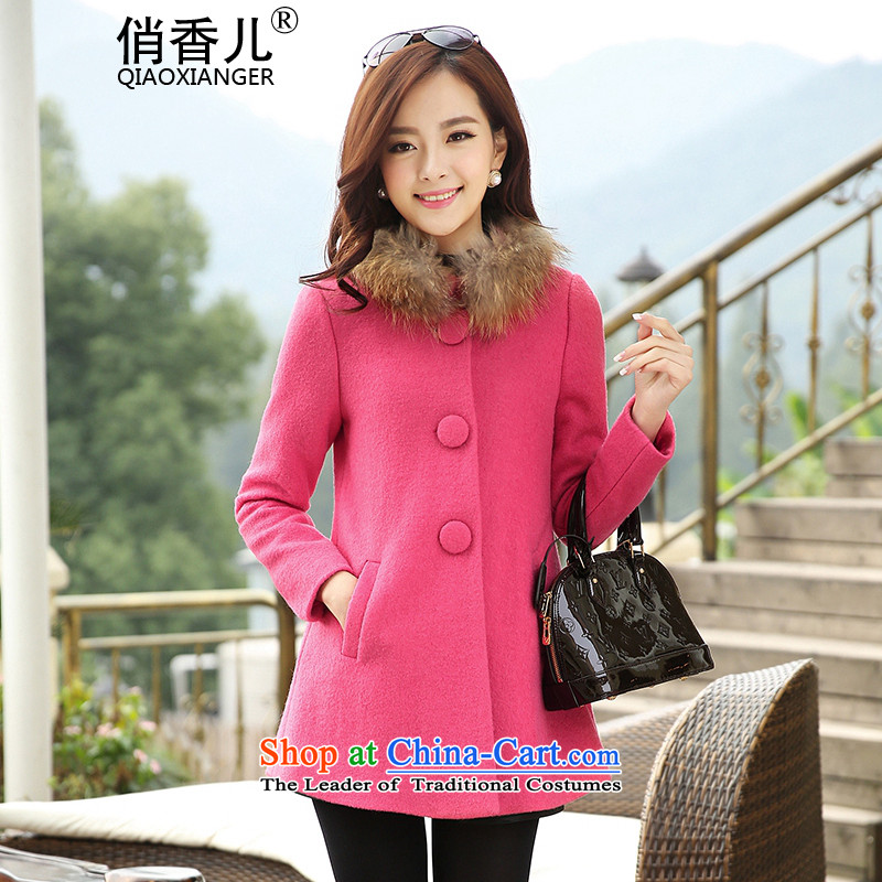 For?autumn and winter 2015-heung-new ladies hair? Jacket Korean fashion Sau San single row in the medium to long term, detained stylish temperament gross? overcoat honey red?XL