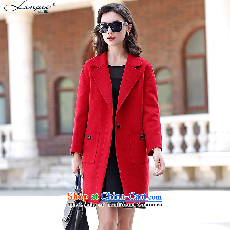 Ho Pui 2015 Autumn new gross? jacket red cloak coats that long double-side woolen coat RED燤