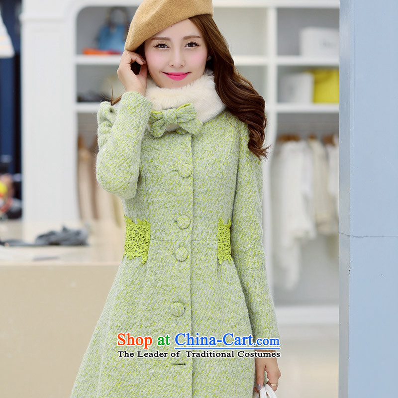 Sin has爊ew 2015 Fall_Winter Collections Korean wool coat female students in this long hair for a wool coat female fruit green�                    M