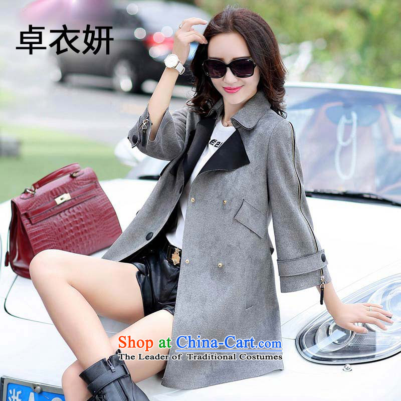 1368_2015 autumn and winter new Korean version of liberal fashion jacket Gray燣
