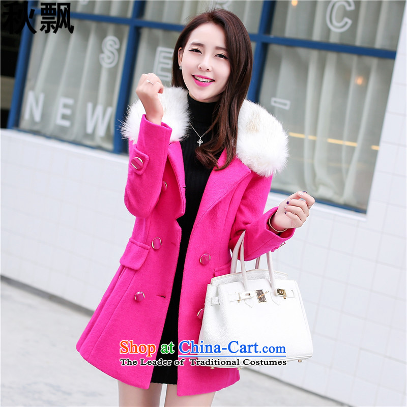 The Autumn Breeze Autumn Breeze 2015 autumn and winter new Korean video and slender of Sau San? female wool coat is coat with gross for Connie sub-jacket in RED燤