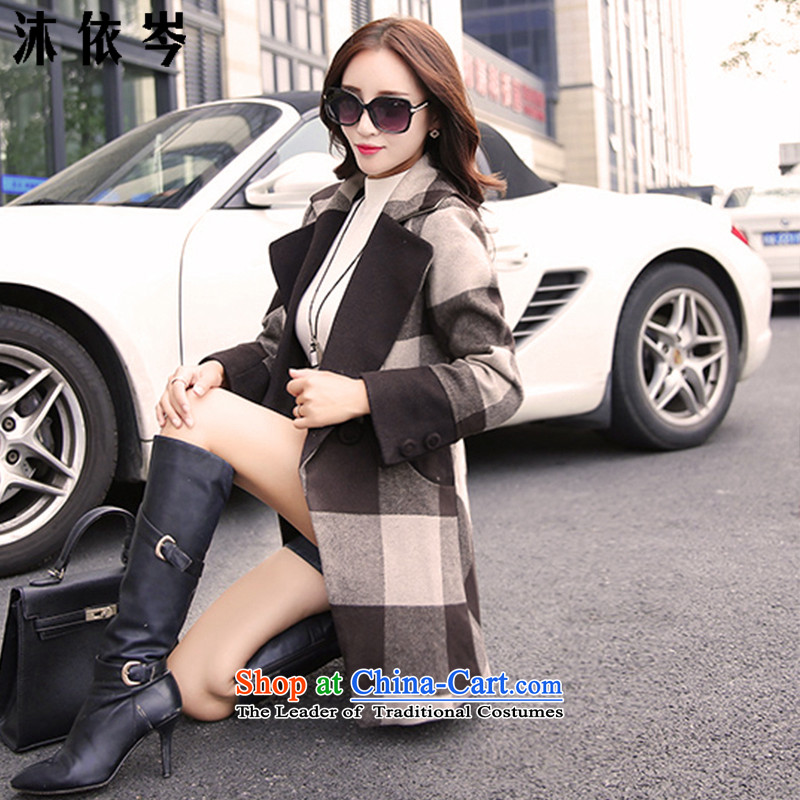 In accordance with the CEN 2015 Autumn bathing in the new graphics thin Korean Sau San in large segments of the long coats female 319_ gross? coffee latticed燲L