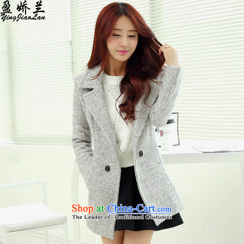 To Lan Version won surplus small incense wind aristocratic gross? a jacket coat female gray S